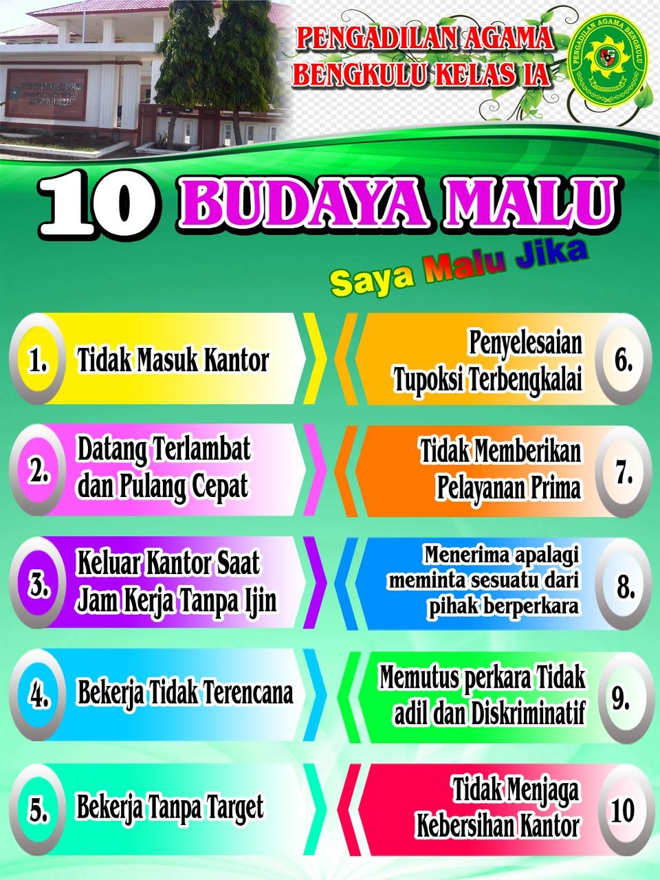 10 Budaya Malu Warga Pengadilan Agama Bengkulu